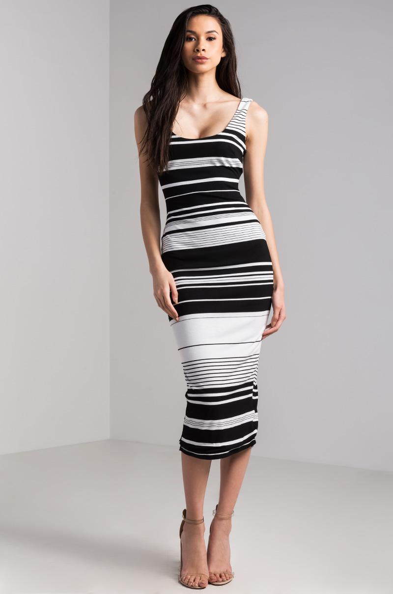 Akira Scoop Neck Striped Bodycon Midi Dress In Black White