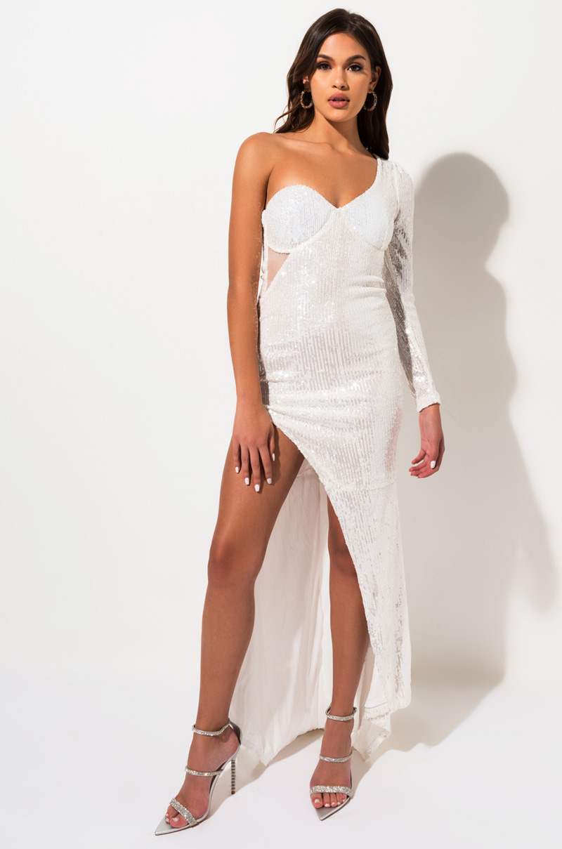 AKIRA Label One Shoulder Sequin Maxi Dress with High Slit Detail in White