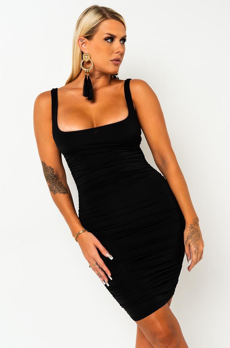AKIRA Label Ruched Stretch Knit Square Neckline Bodycon Mini Dress in Black