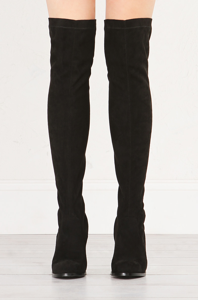 3f7e3096497d SOL SANA Bella Suede Thigh High Boots With Block Heel in Grey and Black