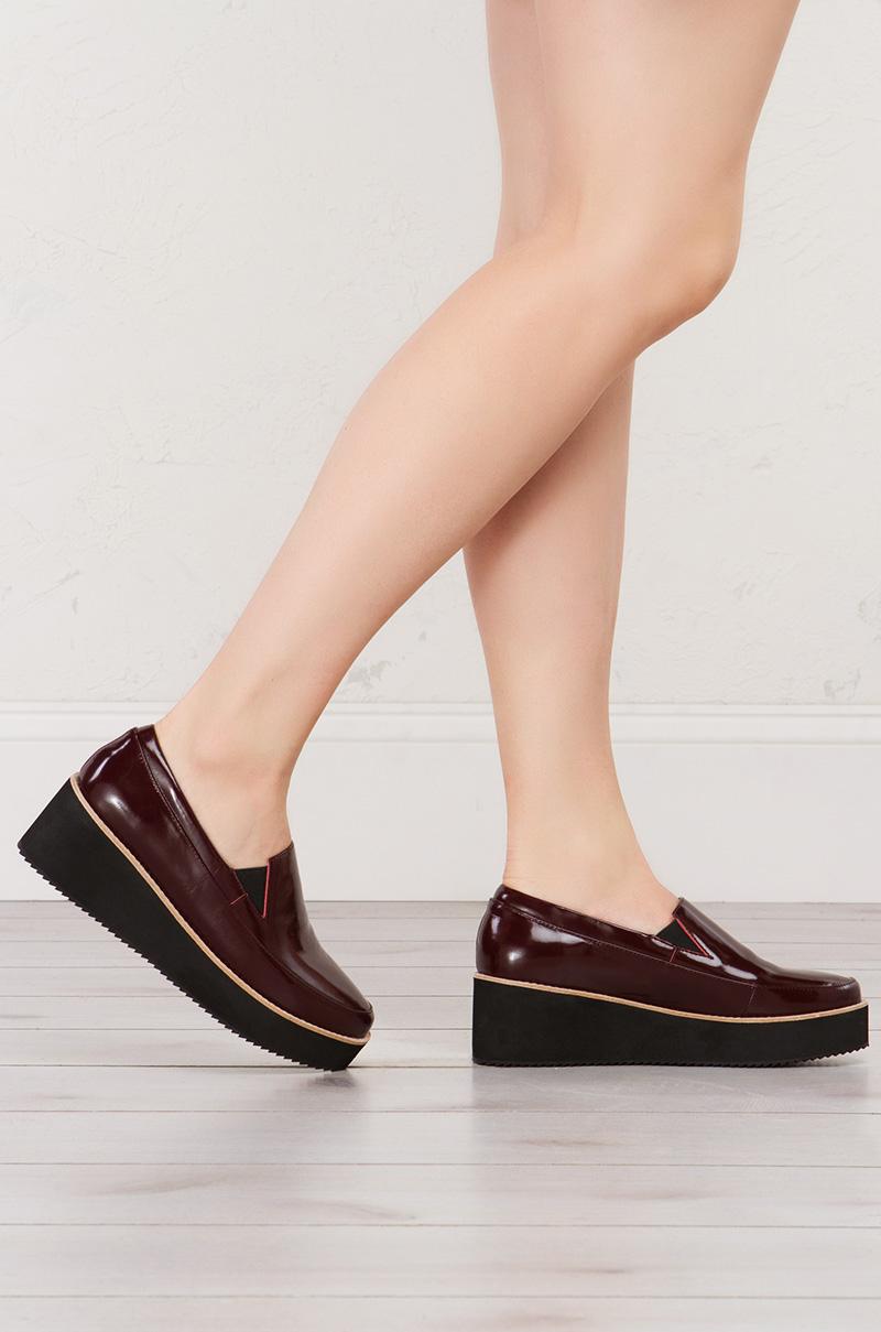 f83ae070669b40 Sol Sana Slip On Platform Shoes in Burgundy and Black