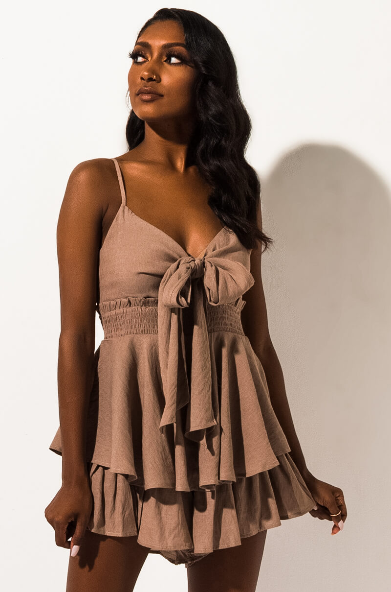 Something About Us Tie Front Romper by Akira