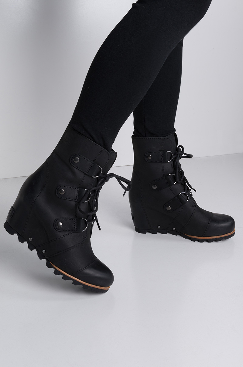 Sorel Waterproof Lace Up Distressed Leather Wedge Bootie