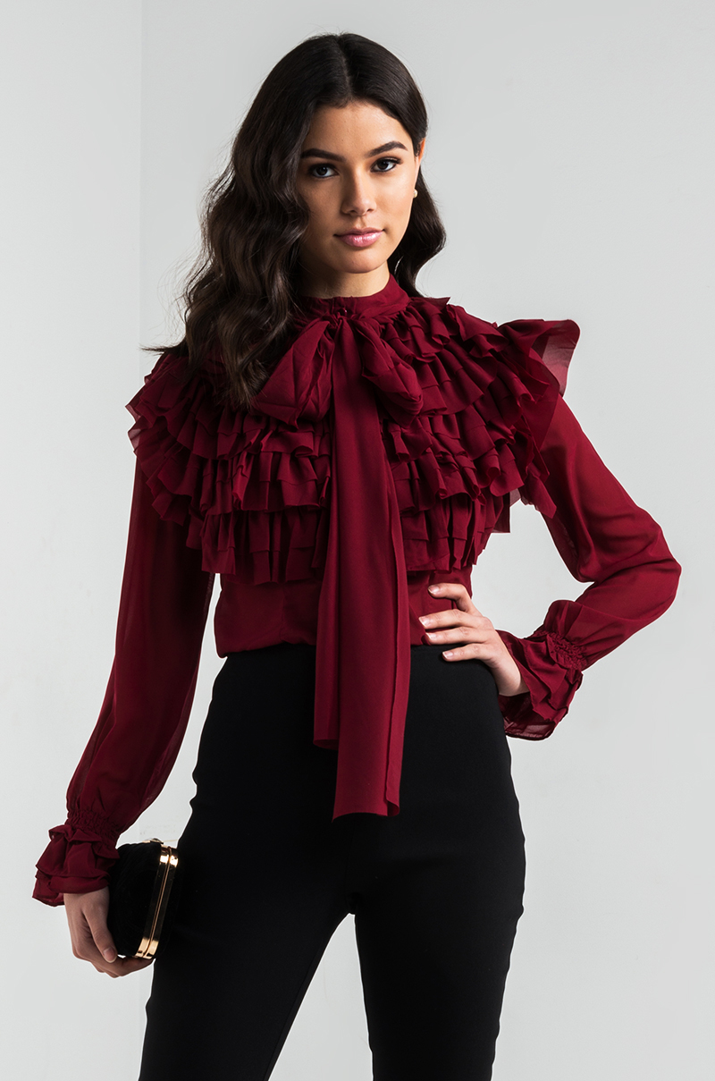 Red Blouse Long Sleeve