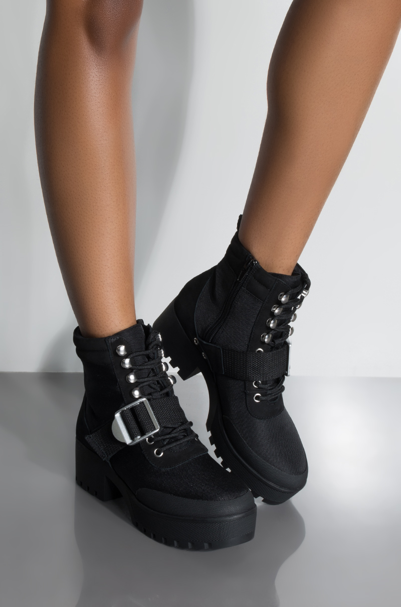 02d68a3a5d2 Steve Madden Grommet Lace Up Chunky Platform Comat Bootie in Black