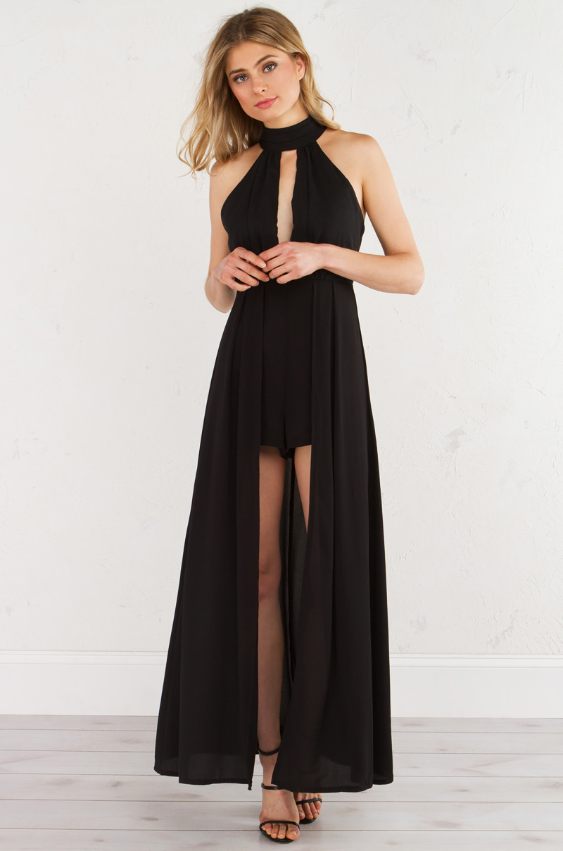 Deep Keyhole Shorts Jumpsuit With Attached Trailing Train