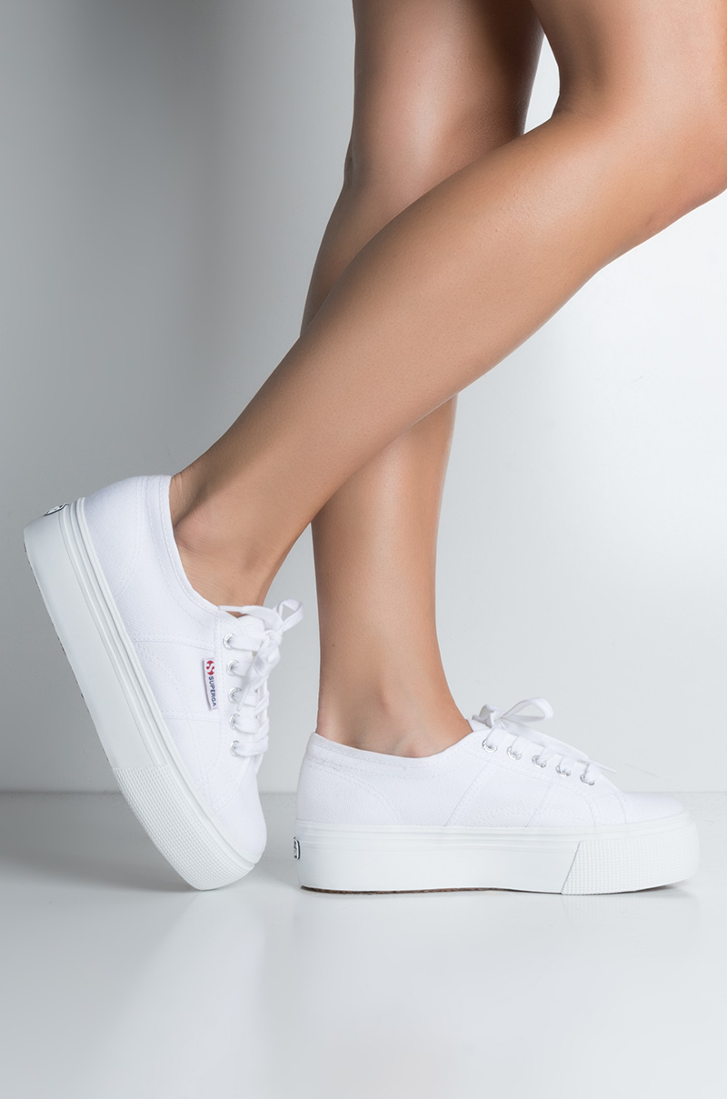 583c1ece0934 Fabric High Flatform Ridged Sole Lace Up Shoe Strings Closed Toe Sneakers  in White