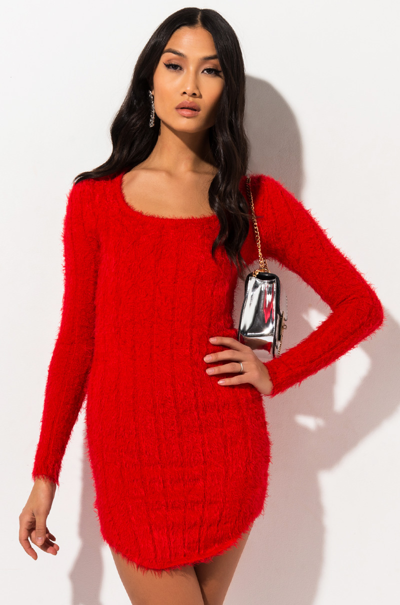 AKIRA Label Long Sleeve Ribbed Fuzzy Bodycon Mini Dress in Red