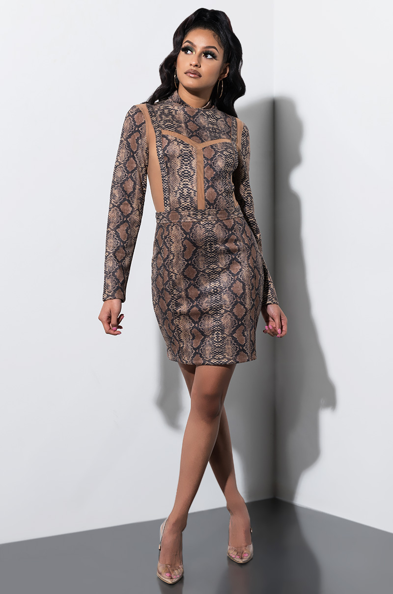 7998fea898 AKIRA Label Bodycon Snakeskin Print Mini Dress in Brown Multi