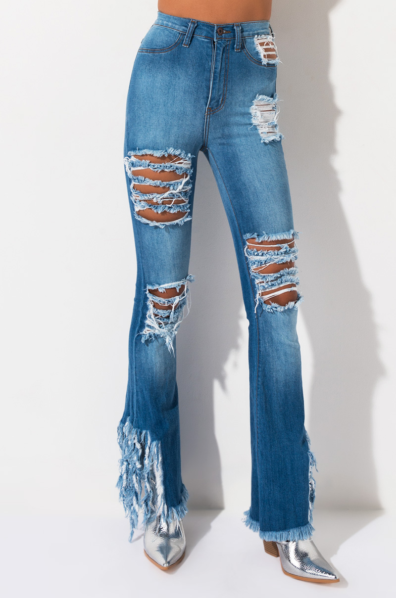 The Night Sky Distressed Flare Jeans by Akira