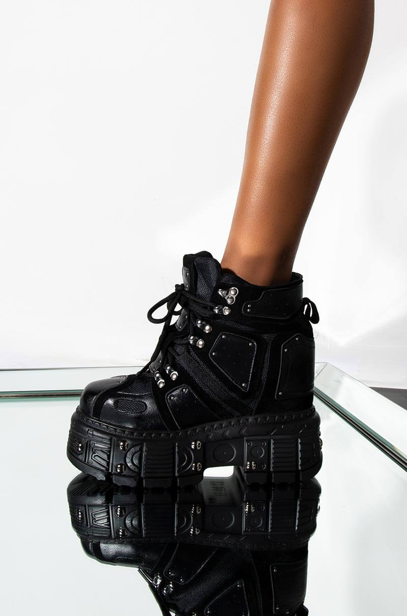 Through The Desert High Top Chunky Wedge Sneaker by Akira