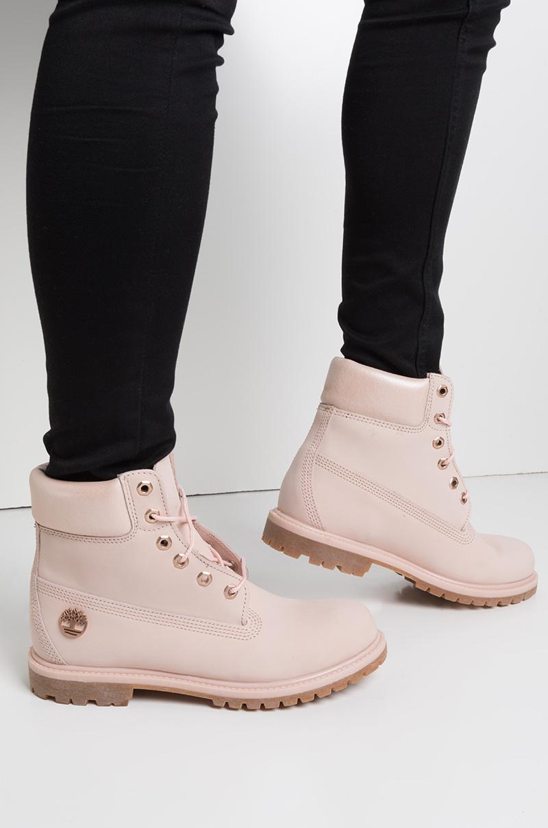 d4102ee5875 Timberland 6 Inch Premium Waterproof Icon Boots in Light Pink Nubuck With  Metallic Collar
