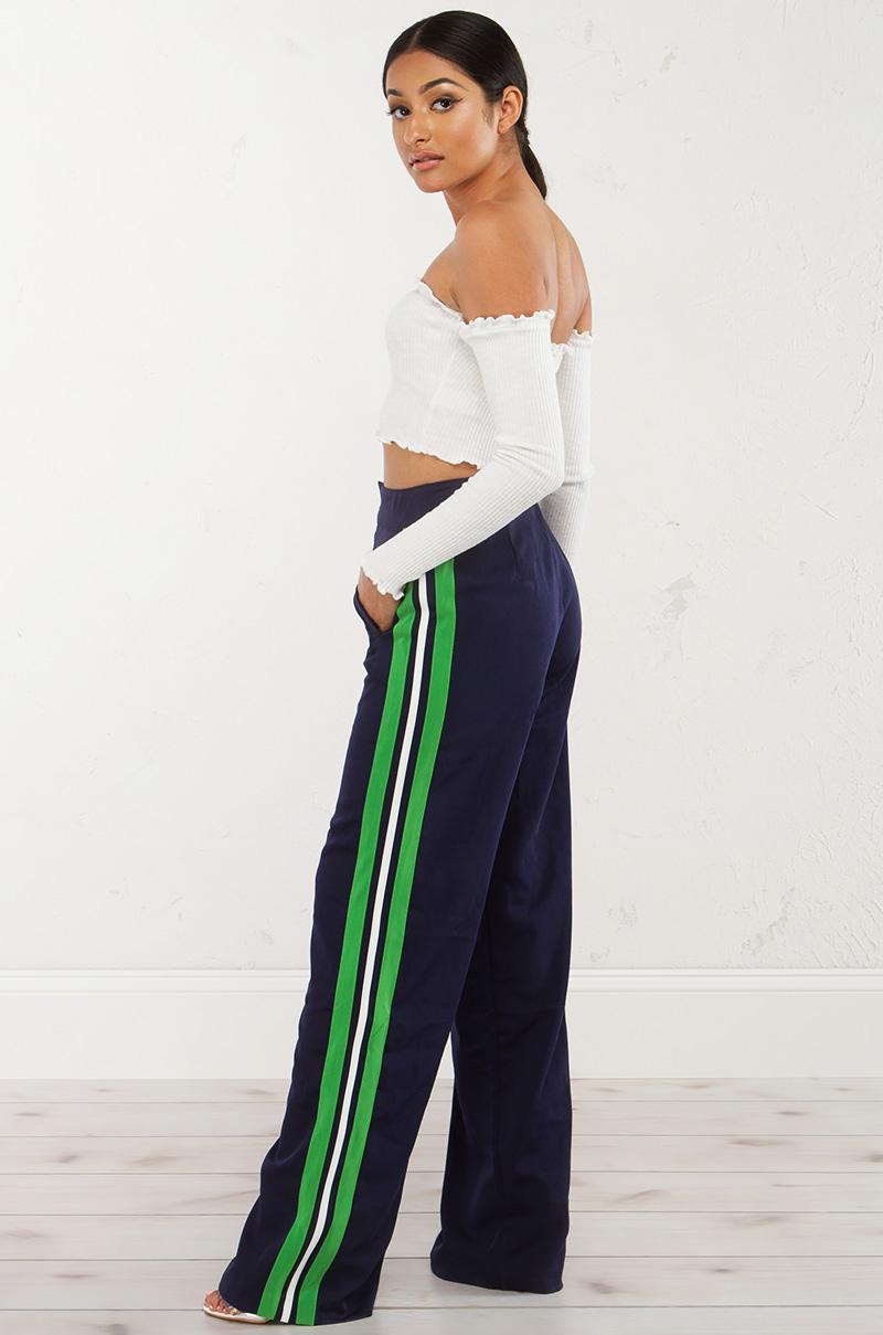 Side Stripe Wide Leg Pant In Black
