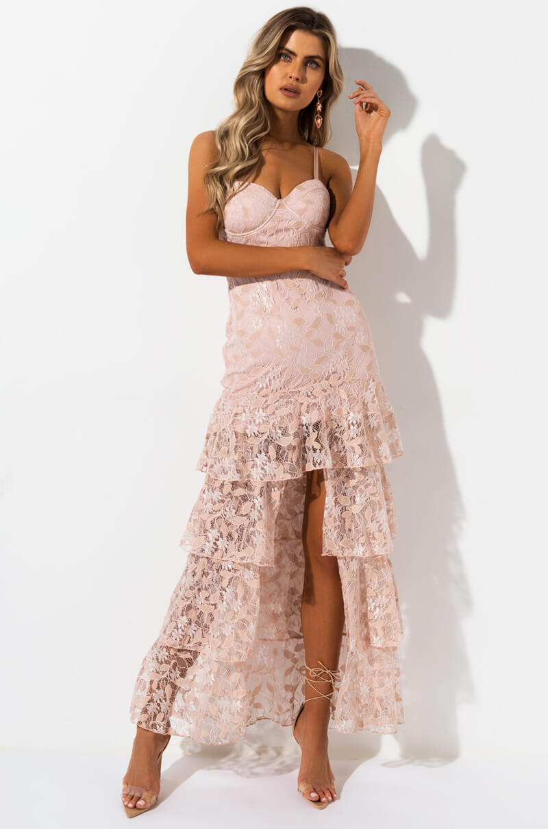 AKIRA Label Lace Bodycon Special Occasion Gown with Layered Ruffle Hem in Nude