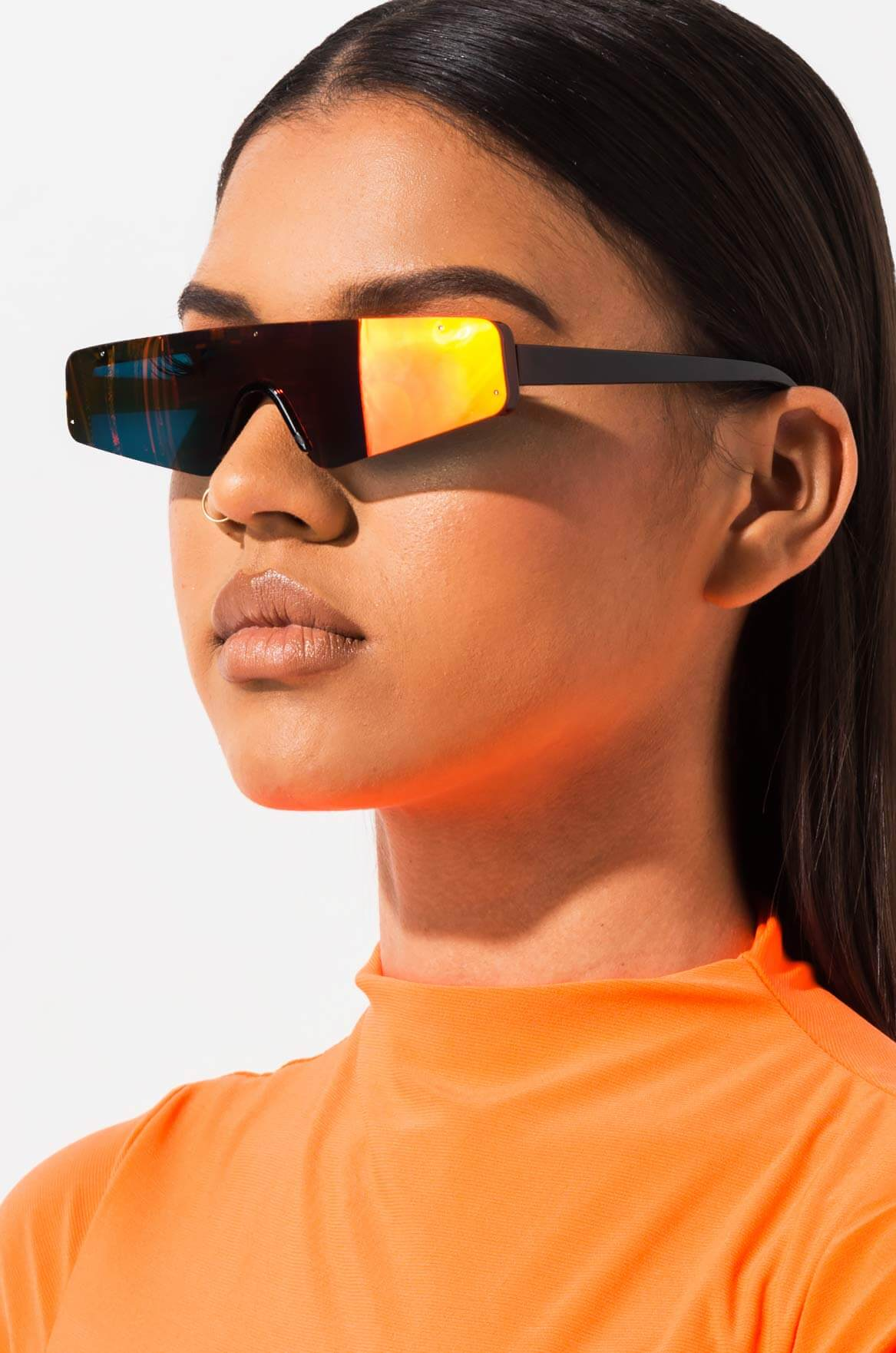 a8edb978887 AKIRA LABEL Holographic Mirror Lens Shield Sunglasses
