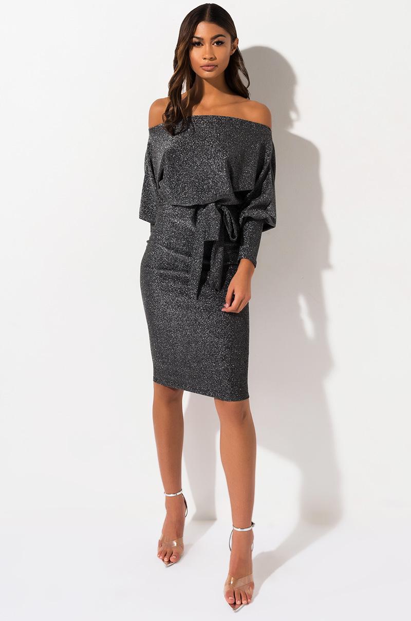 AKIRA Label Off Shoulder Long Sleeve Glittery Knit Midi Dress in Silver