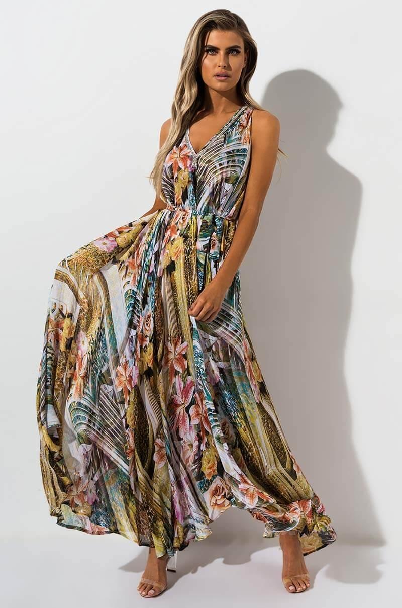 AKIRA Label Floral Print Sheer Maxi Dress with Rhinestone Trim in Yellow Green Multi