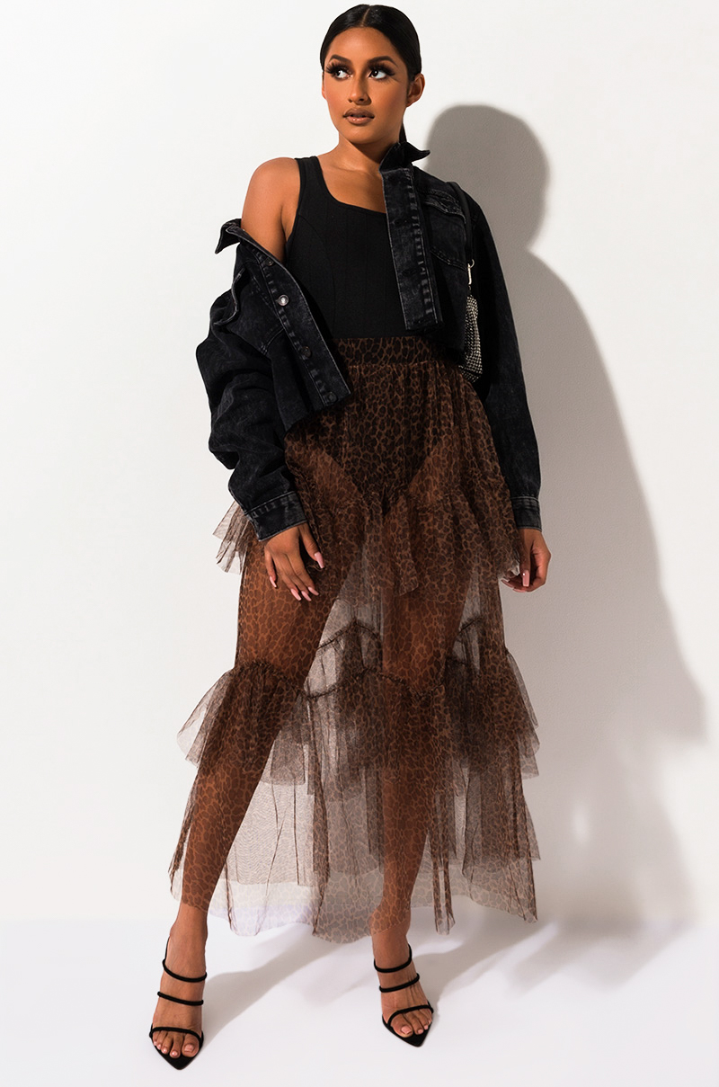 Vida Loca Mesh Leopard Maxi Skirt by Akira