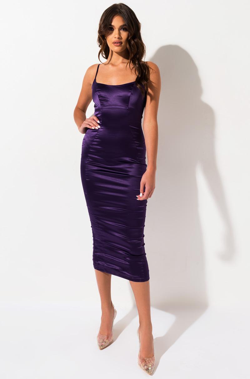 AKIRA Label Satin Tank Maxi Dress in Black, Purple