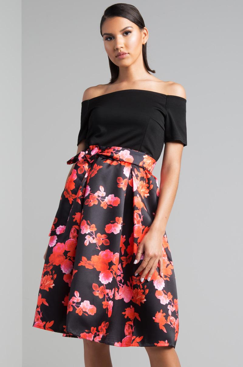 e823aad66da AKIRA Off Shoulder Floral Printed Skater Skirt Midi Dress in Black Red