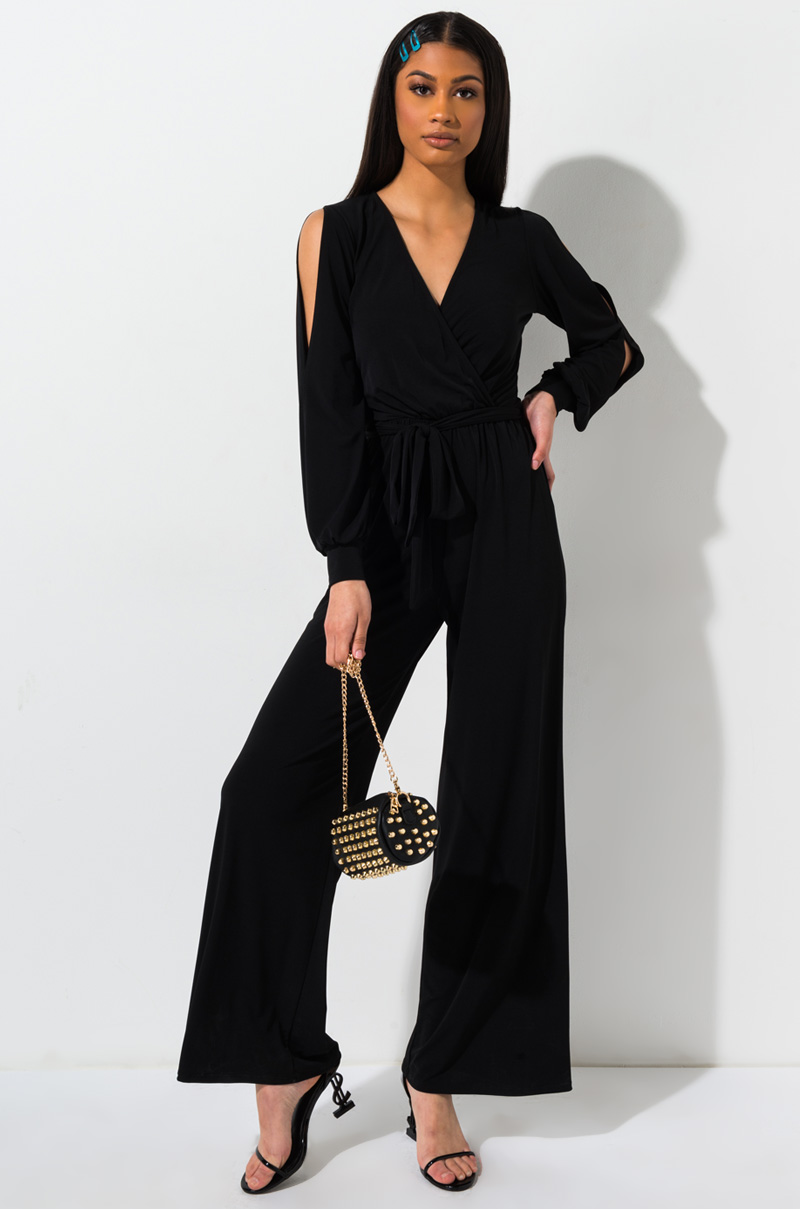 cd66cc1c0d5 AKIRA Label Sleeveless V-Neck Jersey Jumpsuit with Belt and Zipper ...