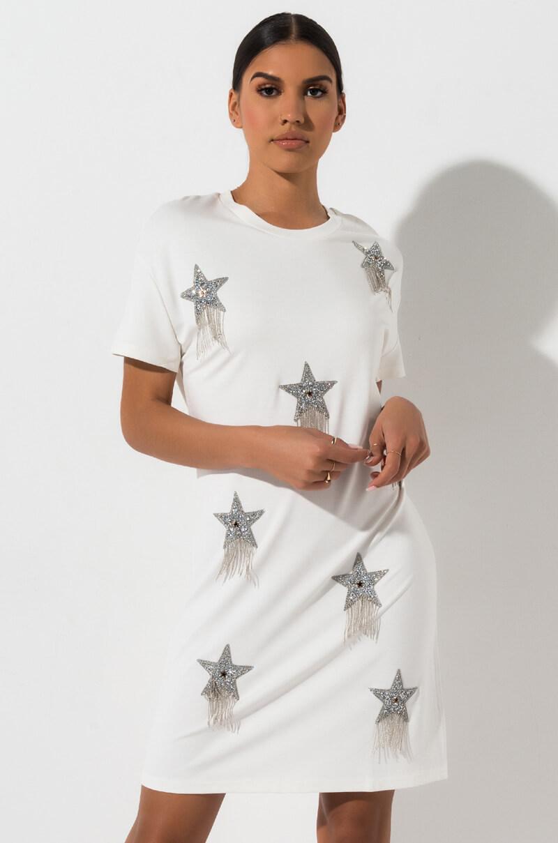 8d2a6a8334f09 AKIRA Label Star Embelished Rhinestone Fringe T-Shirt Dress in Black ...