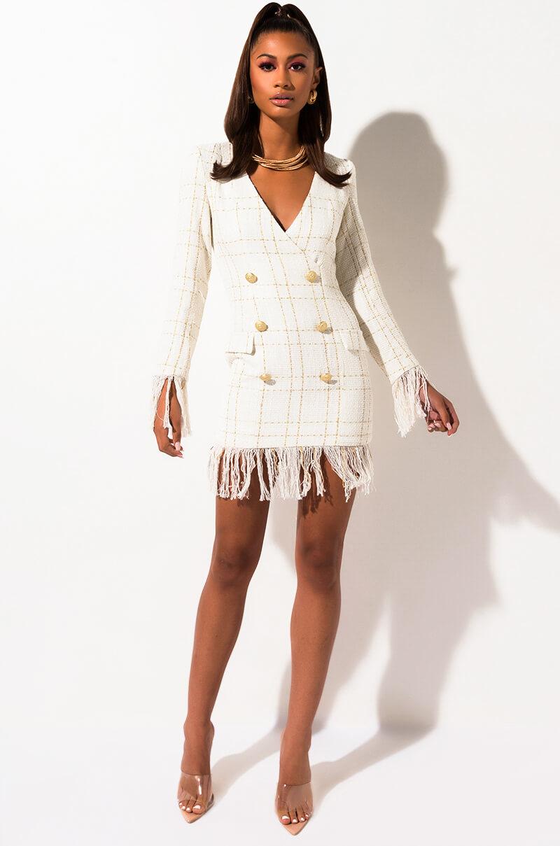 Worth It Fringe Blazer Dress by Akira
