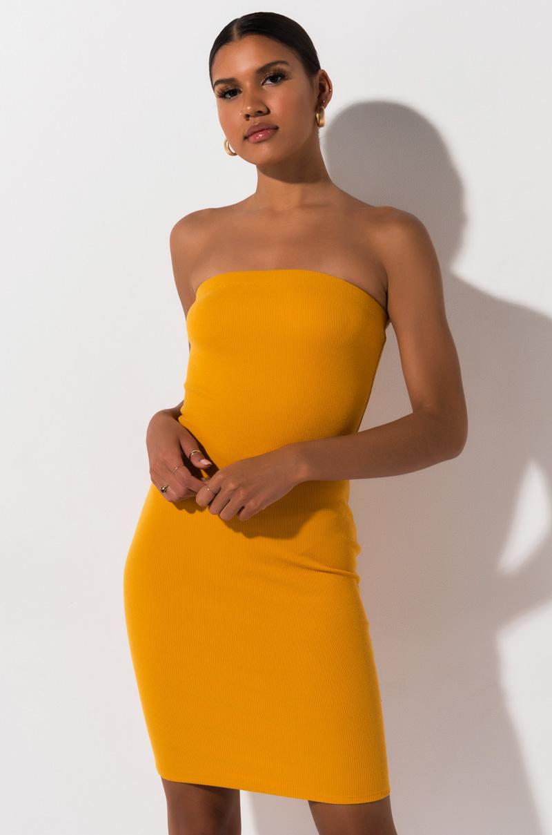 AKIRA Label Strapless Ribbed Knit Bodycon Mini Dress in Yellow
