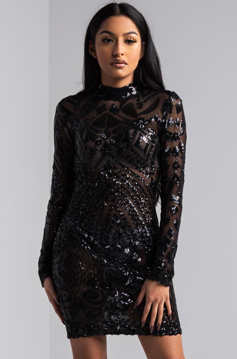 f44d02b71a2 AKIRA Black Label Sheer Mesh Long Sleeve Bodycon Sequin Mini Dress in Gold