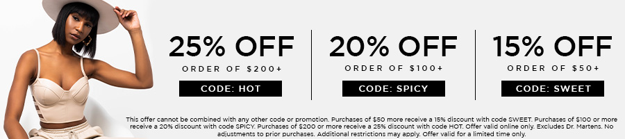 Take 25% Off Orders of $200+ with code HOT. Take 20% Off Orders of $100+ with code SPICY. Take 15% Off Orders $50+ with code SWEET.