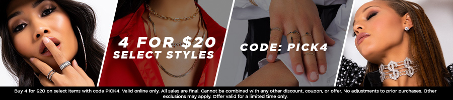 Shop 4 for $20 select styles with code PICK4.
