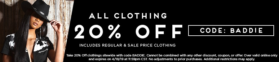 Take 20% Off All Clothing with code BADDIE