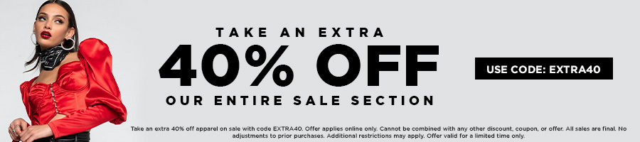Take and extra 40% Off our entire sale section with code EXTRA40.