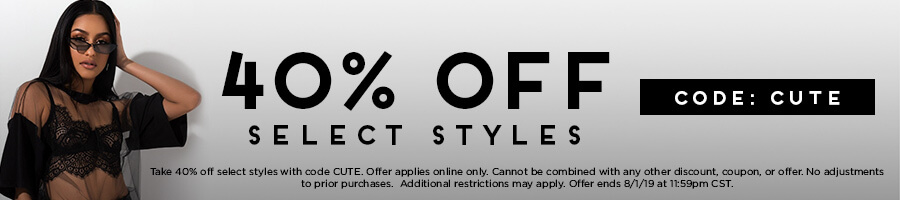 Take 40% Off Select Styles with code CUTE.