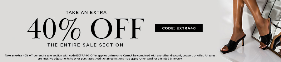 Take an extra 40% Off our entire sale section with code EXTRA40. Valid online only. All Sales are Final.