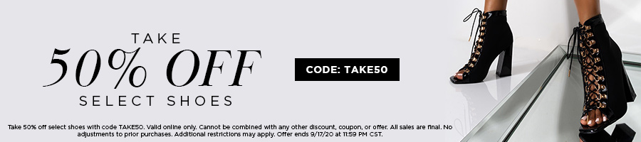 Take 50% Off Select Shoes with code TAKE50.