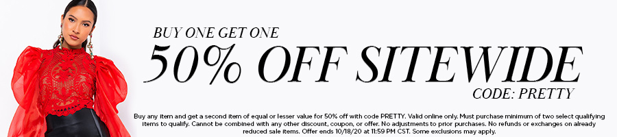 Buy one get one 50% off sitewide with code PRETTY.