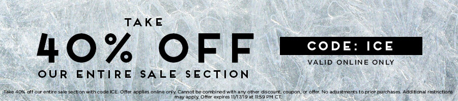 Take an extra 40% Off our entire sale section with code ICE.