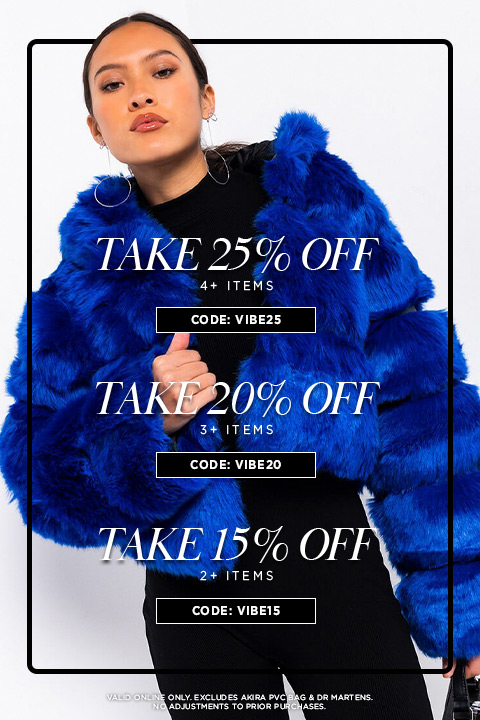 Take 25% Off 4+ items with code VIBE25. Take 20% Off 3+ items with code VIBE20. Take 15% Off 2+ items with code VIBE15.