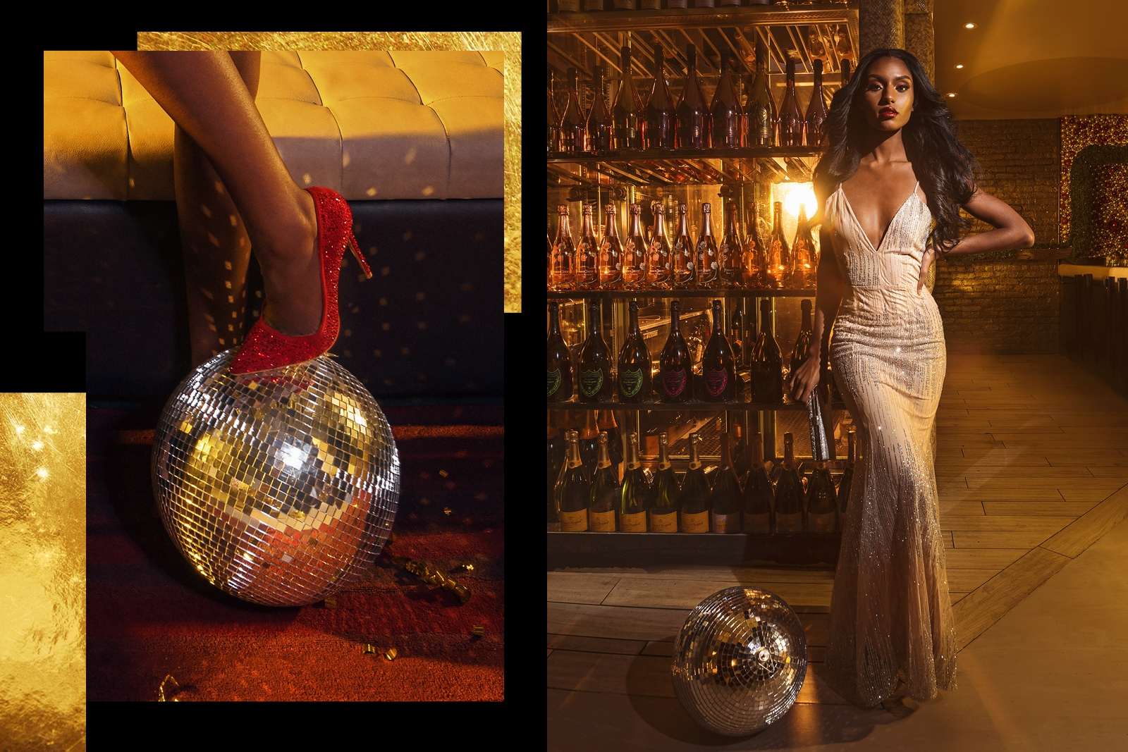 discoball shoe and model by bottles